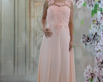 Charming pink lace applique illusion evening dress prom dress