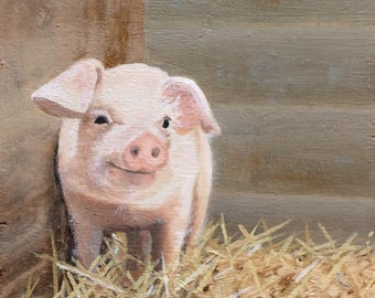 Pig print from original oil painting miniature