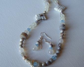 Ocean jasper, agate gemstone necklace and earring set #22