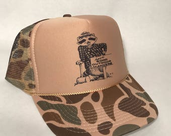 Howdy Raccoon Trucker Hat Have Good Manners US Forest Service National Park Mascot Before Smokey the Bear Cap