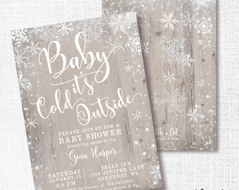 Baby It's Cold Outside Baby Shower Invitation, Printable, Neutral Winter Invite, Farmhouse, White, Cottage Chic, Rustic, Snowflake, Sprinkle