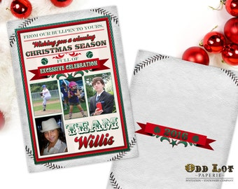 Baseball Christmas Cards Sports Themed Christmas Cards Printable Christmas Cards Any Sports Team, Team Colors  DIY Printable Invite New Year