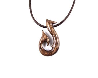 Fish Hook Pendant, Fish Hook Necklace, Fish Hook Jewelry, Mens Fish Hook Necklace, Mens Necklace, Wood Fish Hook Pendant, Men Tribal Jewelry