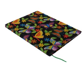 Journal, handbound, hardcover, black butterfly, parrots, 80 sheets, college rule paper