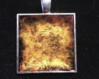 Square hand painted pendant