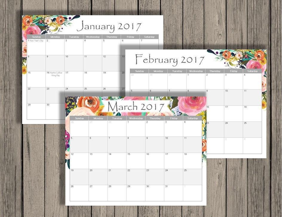 editable calendar january 2018