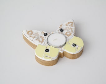 Butterfly Mosaic Tealight Holder - Yellow, Black and Gold - Handcrafted