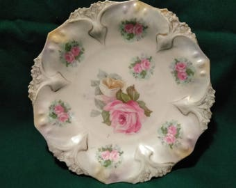 R S Prussia Pink Rose, Gold Trim Tea Saucers