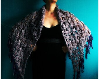 Crochet Triangle Shawl,Knit Shawl,Crochet Scarf,Knit Scarf,Wrap,Stole,Flower Of Life,Gypsy Clothing,Womens Clothing,One Size,Purple,Fringe,