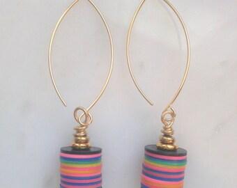 Fun multi-colored repurposed vinyl earrings