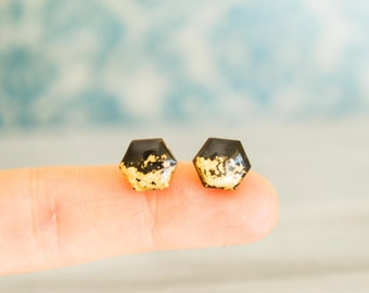 minimal ear studs , modern minimal studs , small stud earrings , tiny black studs , hexagon earrings , hexagon stud earring