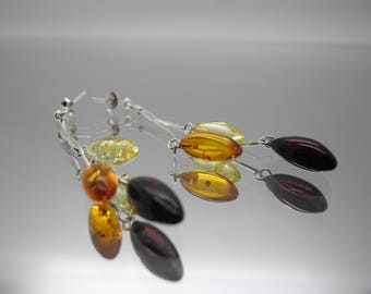 "Natural Baltic amber earrings ""Multi almonds"" with sterling silver 925 chains"