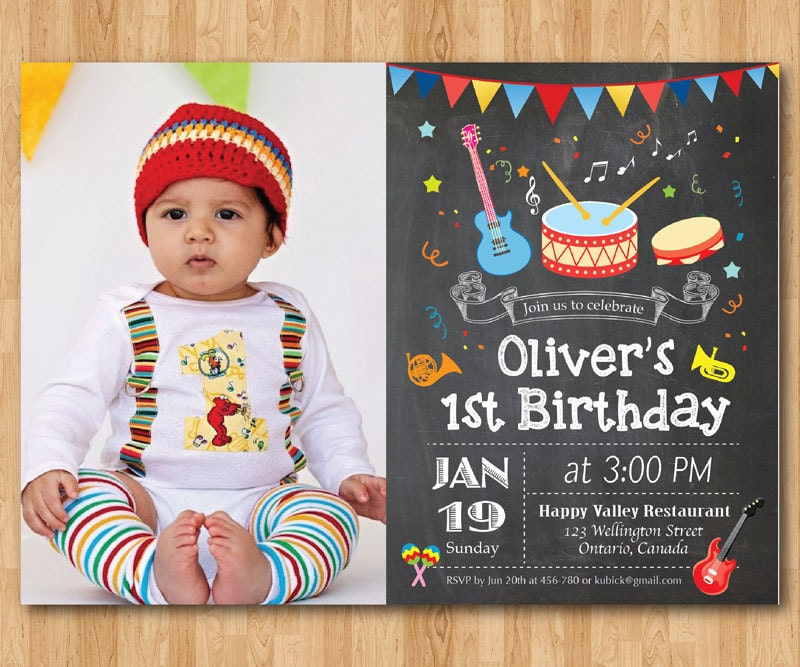 Music Birthday Invitation Boy or girl Music Party birthday