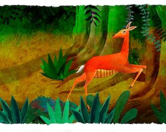 The deer leak. Illustration