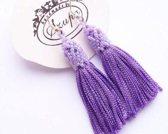 Purple tassel earrings, boho earrings, long tassel earrings, fringe earrings, chandelier earrings, handmade earrings, tassel jewelry