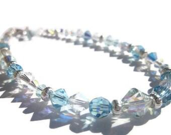 Swarovski Anklet, Aquamarine Anklet, Crystal Anklet, Summer Jewelry, Bling anklet