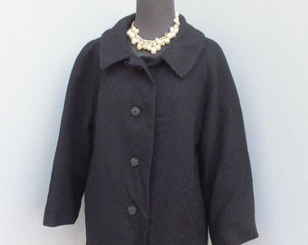 Vintage Coat/Jacket, Short Coat, Black Wool Coat, NOS, Ex Large