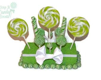 Lime Green Wedding Centerpiece, Green Candy Centerpiece, Green Lollipop Centerpiece, Sweet Sixteen, Green Birthday Decor, Candy Buffet Idea
