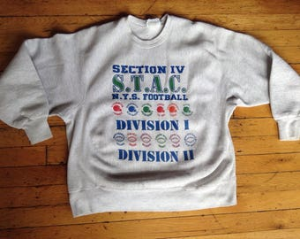 Vintage Section IV S T A C New York State foodbal Division 1 reverse weave Lee sweatshirt USA XL