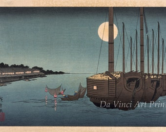 Japanese Art. Fine Art Reproduction. Hiroshige. Fukeija: Moonlight on the River, 1850