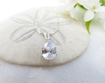 April Birthstone Necklace, Mother's Day Necklace, White Spinel Necklace, Sterling Silver Necklace, Cubic Zirconia Necklace, CZ Birthstone