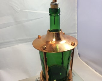 Vintage 1970s Musical green glass decanter with copper accent. Made in Japan