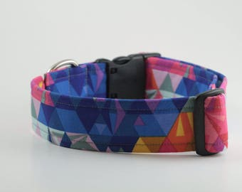 Stained Glass in Blues and Pinks Dog Collar