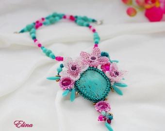 Necklace turquoise Flower Beaded pendant floren beadwork exclusive handmade statement, cyan hot pink deeppink jewelry, beadwoven summer OOAK