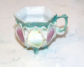 Delightful Octagon Painted Tea Cup with Texture