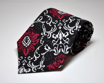 Mens Neckties Boys Necktie Me and Matilda Everyday Necktie Black, Grey and Fuschia Damask