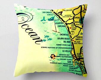 San Diego Map Pillow Cover, San Diego Gift, Carlsbad La Jolla, California Map Throw Pillow, California Gift, Decorative Pillow Cover 18x18,