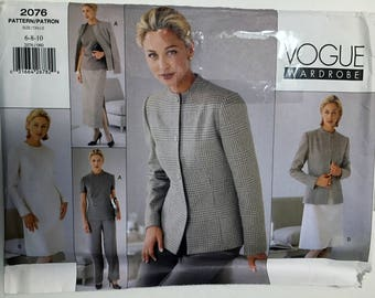 Vogue #2076 Misses Wardrobe Dress Jacket Top Skirt and Pants sewing pattern size 6 8 10 UC Uncut FF