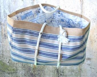 Blue Striped Cruiser Beach Bag