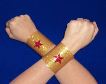 New  Wonder Woman Costume Accessory Gold Sparkle Star CUFFS