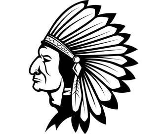 indian chief logo etsy rh etsy com indian head silhouette clip art indian headdress clipart