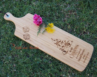 FREE DELIVERY-Personalised Bamboo Engraved Long Paddle Serving Board 59x17cm- Merry Christmas-Christmas gift-Christmas gift for grandparents