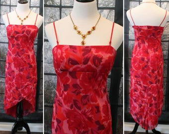 Vintage 90's Red Floral Summer Dress ByCity Triangles Summer Dress,Beach Dress,Floral Dress,Boho Dress,High-Low Dress,Red Gown,Retro Dress