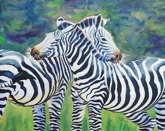 Zebra Freunde Original-Aquarell