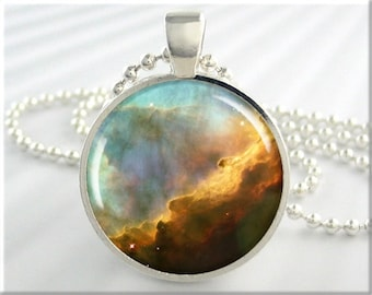 Omega Nebula Pendant, The Omega Nebula, Space Jewelry, Resin Necklace, Hubble Photo Charm, Round Silver, Space Geek Gift (410RS)