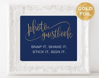 Photo Guest Book Sign Instant Download - Wedding guest book - Navy and Gold Wedding - Downloadable wedding #WDH878PL81