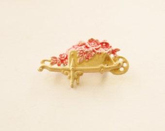 Pretty 60's Vintage Enameled Flower Wheelbarrow Brooch // Vintage costume jewellery // Art Nouveau // Made in England // Gardeners gift
