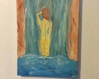 Bathing in a Waterfall Painting