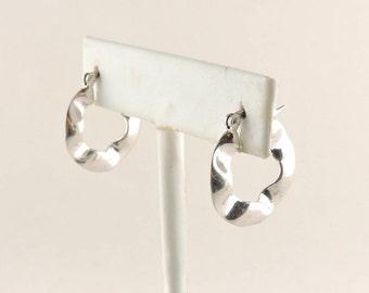 """Sterling Silver Wavy Hoop Earrings 7/8"""""""
