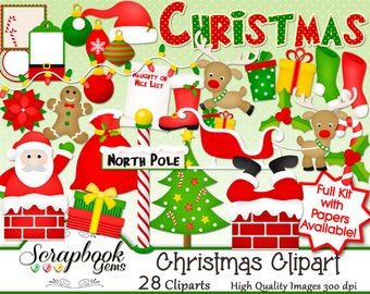 CHRISTMAS Clipart, 28 png Clipart files Instant Download winter christmas tree presents gifts santa claus gingerbread ornament candy cane
