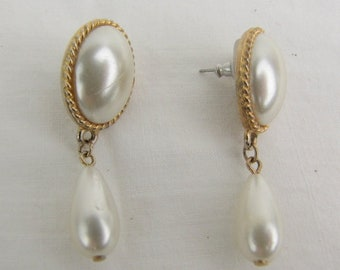Vintage ~ 1980s ~ Drop Earrings ~ White Cabochon ~ Gold Tone ~ Pierced ~ Faux Pearl Drop ~ White Glass ~ Lightweight