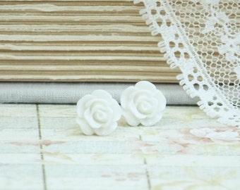 Off White Rose Studs Rose Earrings White Stud Earrings Flower Studs White Rose Earrings Hypoallergenic