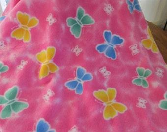 Pink fleece baby blanket with butterflies 36X56