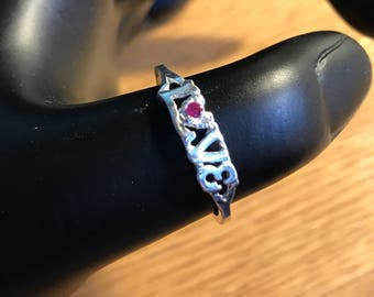 Sterling Silver LOVE Ring with Flawless Red Ruby Size 9.75