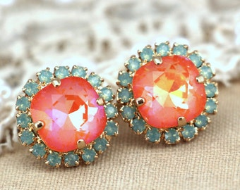 Mint green orange stud Swarovski earrings, gift for woman, crystal studs- 14k 1 micron Thick plated gold earrings swarovski rhinestones.
