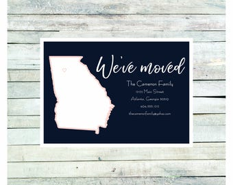 Cameron Moving Announcement, New Home Announcement, New Address, We've Moved, Printed Announcement, Digital Announcement, State Outline